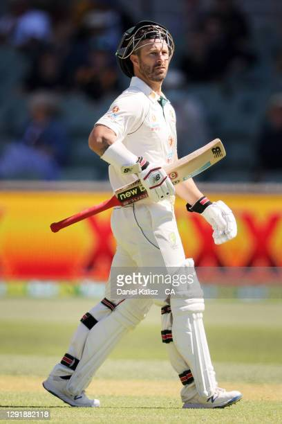 Matthew Wade of Australia walks from the field looking dejected during day two of the First Test match between Australia and India at Adelaide Oval...