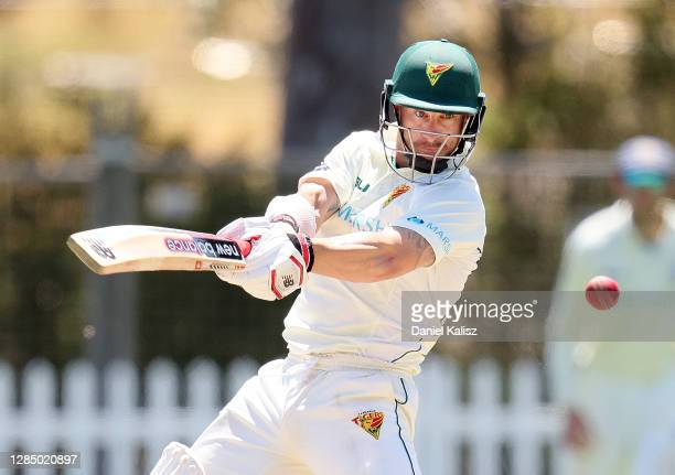 Matthew Wade of Tasmania bats during day four of the Sheffield Shield match between Tasmania and New South Wales at Gladys Elphick Park on November...