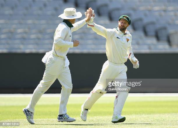 Matthew Wade of Tasmania is congratulated by team mates after taking a catch to dismiss Chris Tremain of Victoria during day two of the Sheffield...