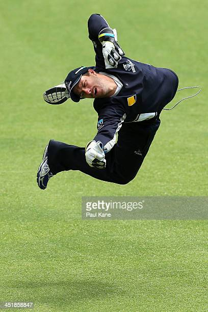 Matthew Wade of the Bushrangers practices his keeping after play on day four of the Sheffield Shield match between the Western Australia Warriors and...