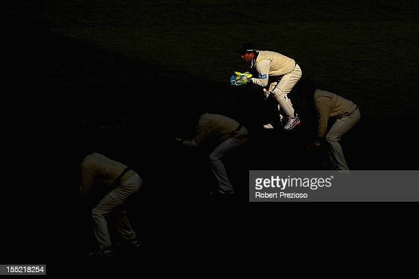 Matthew Wade of the Bushrangers prepares to take the ball during day two of the Sheffield Shield match between the Victorian Bushrangers and the...