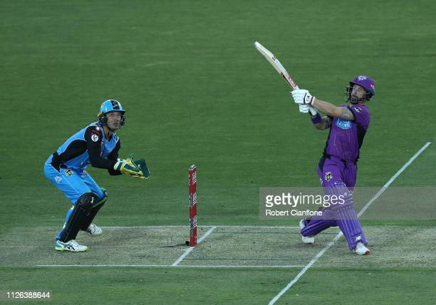 Matthew Wade of the Hobart Hurricanes bats during the Big Bash League match between the Hobart Hurricanes and the Adelaide Strikers at UTAS Stadium...