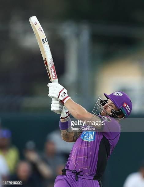 Matthew Wade of the Hobart Hurricanes bats during the Hurricanes v Renegades Big Bash League Match at Blundstone Arena on February 07, 2019 in...
