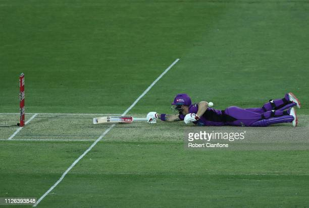 Matthew Wade of the Hobart Hurricanes dives for his crease during the Big Bash League match between the Hobart Hurricanes and the Adelaide Strikers...