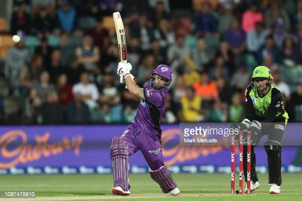 Matthew Wade of the Hurricanes bats during the Big Bash League match between the Hobart Hurricanes and the Sydney Thunder at Blundstone Arena on...