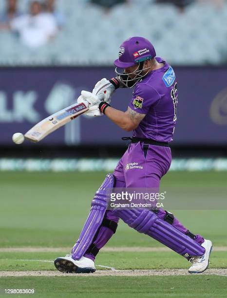 Matthew Wade of the Hurricanes bats during the Big Bash League match between the Sydney Sixers and Hobart Hurricanes at Melbourne Cricket Ground, on...