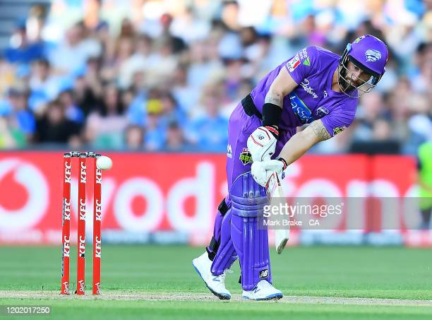 Matthew Wade of the Hurricanes flicks Billy Stanlake of the Strikers for six during the Big Bash League match between the Adelaide Strikers and the...