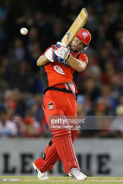 Matthew Wade of the Melbourne Renegades bats during the Big Bash League match between the Melbourne Renegades and the Adelaide Strikers at Etihad...
