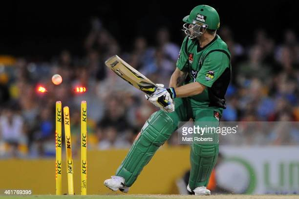 Matthew Wade of the Stars is bowled by Cameron Gannon of the Heat during the Big Bash League match between Brisbane Heat and the Melbourne Stars at...