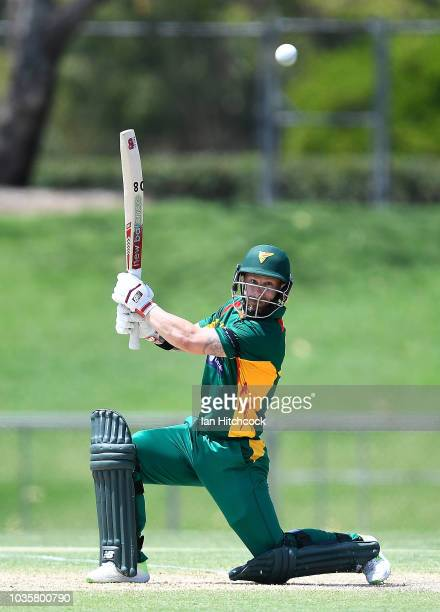 Aaron Summers of the Tigers bowls during the JLT One Day Cup match between Tasmania and Victoria at Riverway Stadium on September 19 2018 in...