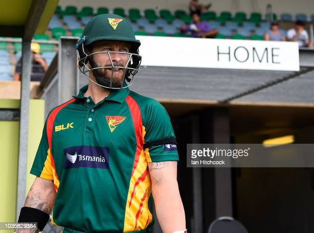 Matthew Wade of the Tigers looks on before walking out to bat during the JLT One Day Cup match between Tasmania and Victoria at Riverway Stadium on...