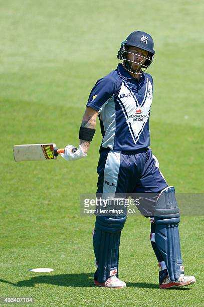 Matthew Wade of Victoria leaves the field after being dismissed by James Faulkner of Tasmania during the Matador BBQs One Day Cup match between...