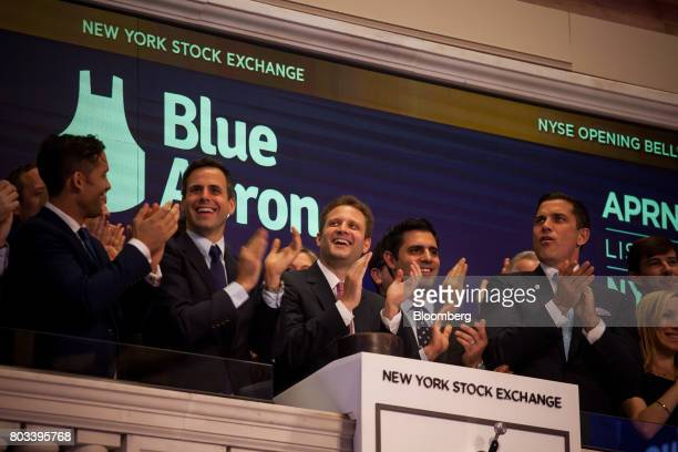 Matthew Wadiak cofounder and chief operating officer of Blue Apron Holdings Inc second from left Matt Salzberg cofounder and chief executive officer...