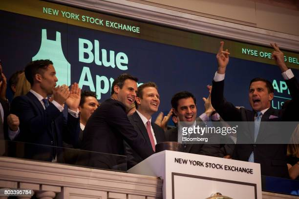 Matthew Wadiak cofounder and chief operating officer of Blue Apron Holdings Inc left of center Matt Salzberg cofounder and chief executive officer of...