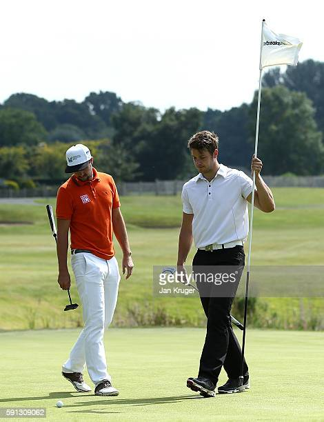 Matthew Webb of Bedlintonshire GC and partner Alex Belt of Snainton Golf Centre looks on during day one of the PGA Fourball Championship at Carden...