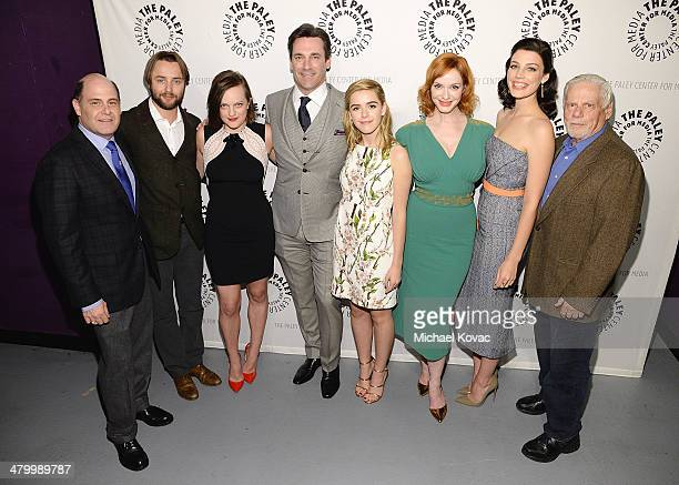 Matthew Weiner actors Vincent Kartheiser Elisabeth Moss Jon Hamm Kiernan Shipka Christina Hendricks Jessica Pare and Robert Morse attend The Paley...