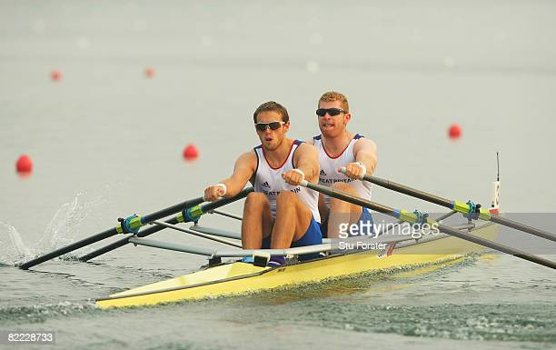 Matthew Wells and Stephen Rowbotham of Great Britain compete in the Men's Double Sculls Heat 2 held at Shunyi Olympic Rowing-Canoeing Park during Day...