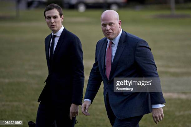 Matthew Whitaker acting US attorney general right and Jared Kushner senior White House adviser walk on the South Lawn of the White House after...