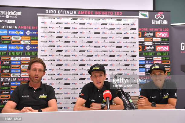 Matthew White of Australia Sports Director Mitchelton Scott / Simon Yates of United Kingdom and Team Mitchelton Scott / Johan Esteban Chaves Rubio of...
