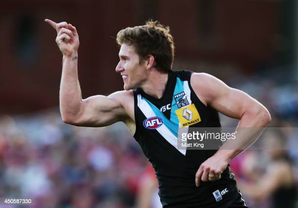 Matthew White of the Power celebrates a goal during the round 13 AFL match between the Sydney Swans and the Port Adelaide Power at Sydney Cricket...