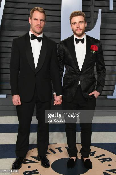 Matthew Wilkas and Gus Kenworthy attend the 2018 Vanity Fair Oscar Party hosted by Radhika Jones at Wallis Annenberg Center for the Performing Arts...