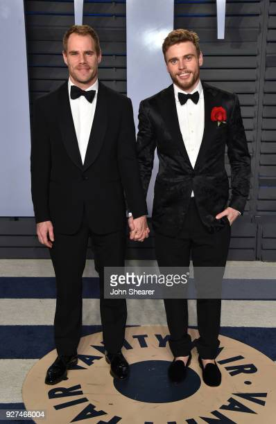 Matthew Wilkas and skier Gus Kenworthy attend the 2018 Vanity Fair Oscar Party hosted by Radhika Jones at Wallis Annenberg Center for the Performing...