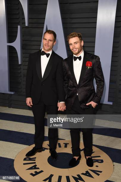 Matthew Wilkas and skier Gus Kenworthy attend the 2018 Vanity Fair Oscar Party hosted by Radhika Jones at the Wallis Annenberg Center for the...