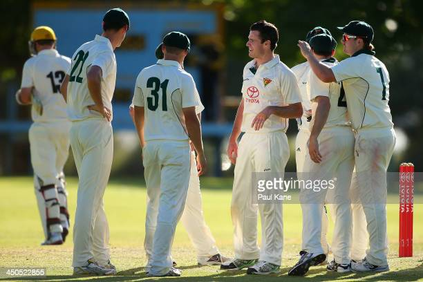 Matthew Wilkie of Tasmania celebrates the wicket of Michael Beer of Western Australia during day two of the Futures League match between Western...