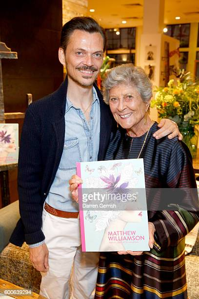 Matthew Williamson and Joan Burstein attend the book launch of Matthew Williamson Fashion Print Colouring by Laurence King Publishing at...