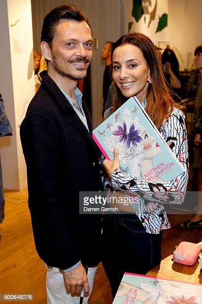 Matthew Williamson and Maryam Zamani attend the book launch of Matthew Williamson Fashion Print Colouring by Laurence King Publishing at...