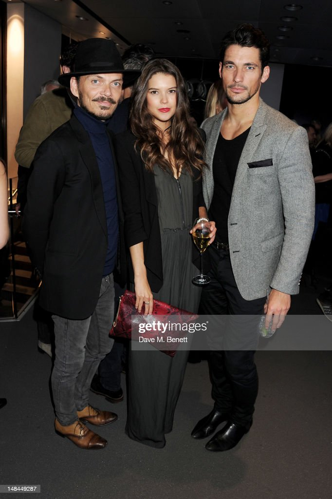 Matthew Williamson, Sarah Ann Macklin and David Gandy attend a party celebrating the global launch of Audi City, Audi's first digital showroom, featuring an art installation by Chris Cunningham, on July 16, 2012 in London, England.