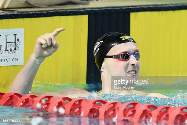 Matthew Wilson of Australia celebrates winning the Men's 200m Breaststroke during the 2017 Australian Swimming Championships at the Sleeman Sports...