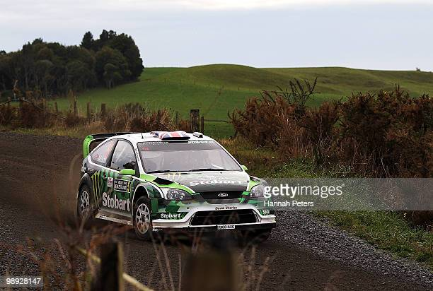 Matthew Wilson of Great Britain and codriver Scott Martin drive their Ford Focus RS WRC 08 during stage 18 of the WRC Rally of New Zealand at Te...