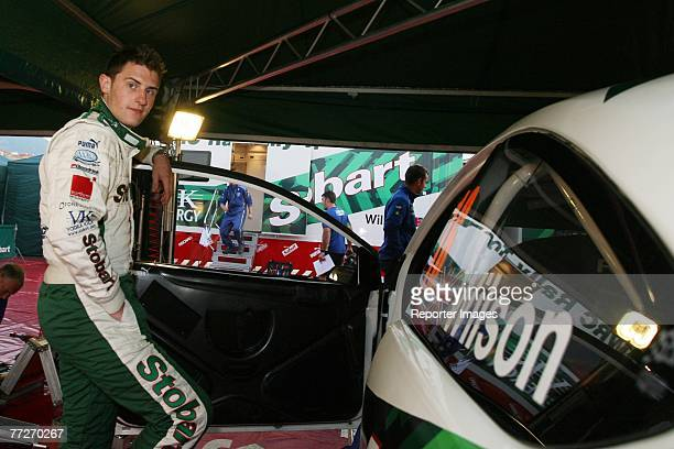 Matthew Wilson of Great Britain and Ford Focus RS poses by his car during the Rallye de France Tour de Corse 2007 on October 11 2007 in Ajaccio...