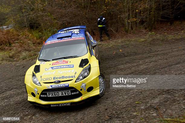 Matthew Wilson of Great Britain and Scott Martin of Great Britain compete in their Ford Fiesta RRC during the Shakedown of the WRC Great Britain on...