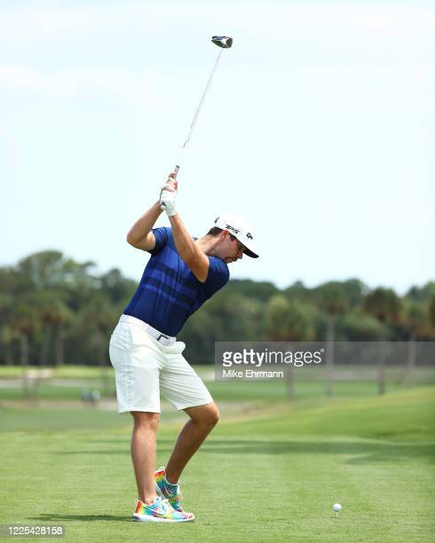 Matthew Wolff of the CDC Foundation team plays his shot from the third tee during the TaylorMade Driving Relief Supported By UnitedHealth Group on...