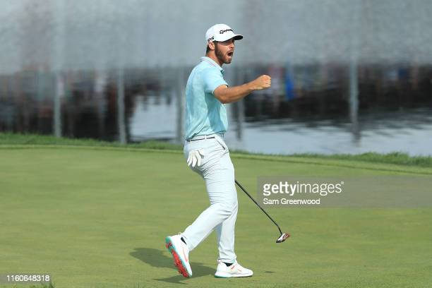 Matthew Wolff of the United States celebrates after a eagle putt on the 18th green to win the 3M Open at TPC Twin Cities on July 07 2019 in Blaine...