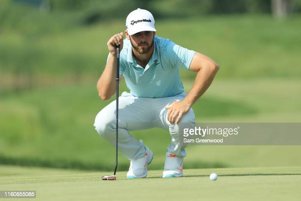 Matthew Wolff of the United States looks over a putt on the 16th green during the final round of the 3M Open at TPC Twin Cities on July 07 2019 in...