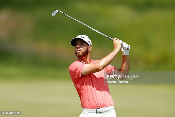 Matthew Wolff of the United States plays a shot on the 16th hole during the third round of the 3M Open at TPC Twin Cities on July 06 2019 in Blaine...