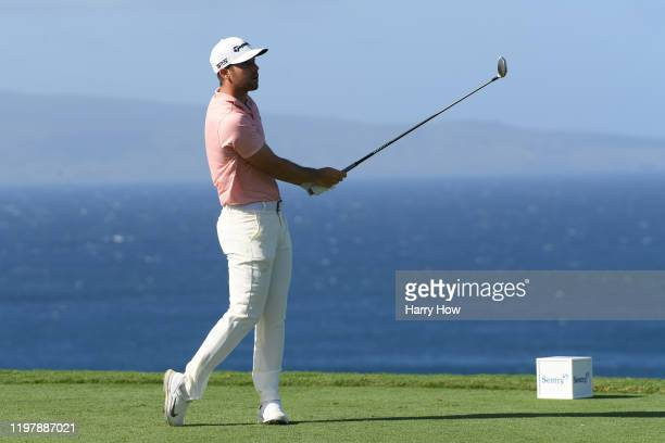 Matthew Wolff of the United States plays his shot from the 13th tee during the final round of the Sentry Tournament Of Champions at the Kapalua...