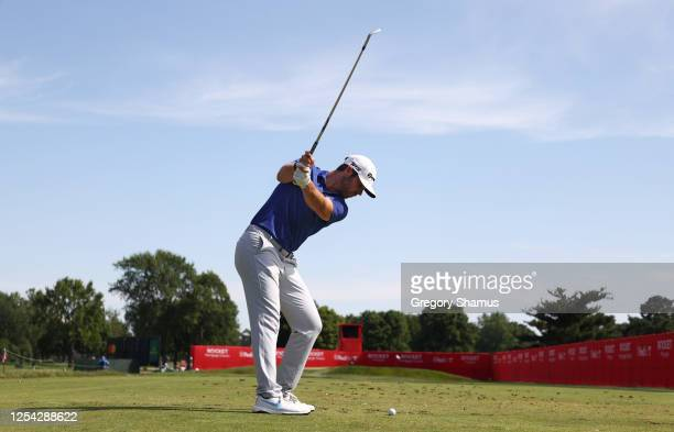 Matthew Wolff of the United States plays his shot from the 15th tee during the third round of the Rocket Mortgage Classic on July 04, 2020 at the...
