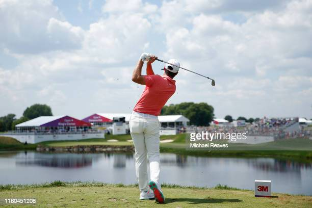 Matthew Wolff of the United States plays his shot from the 17th tee during the third round of the 3M Open at TPC Twin Cities on July 06 2019 in...