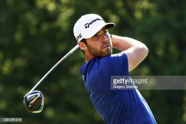 Matthew Wolff of the United States plays his shot from the 18th tee during the third round of the Rocket Mortgage Classic on July 04, 2020 at the...
