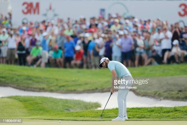 Matthew Wolff of the United States putts on the 18th green during the final round of the 3M Open at TPC Twin Cities on July 07 2019 in Blaine...