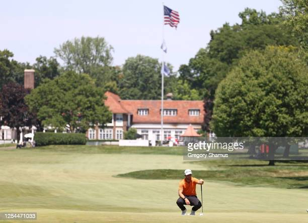 Matthew Wolff of the United States putts on the third green during the final round of the Rocket Mortgage Classic on July 05 2020 at the Detroit Golf...