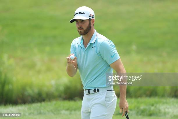 Matthew Wolff of the United States reacts on the second green during the final round of the 3M Open at TPC Twin Cities on July 07 2019 in Blaine...