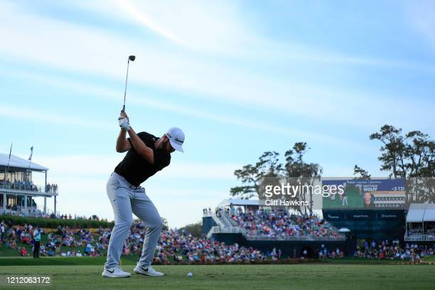 Matthew Wolff of the United States tees of on the 17th hole during the first round of The PLAYERS Championship on The Stadium Course at TPC Sawgrass...