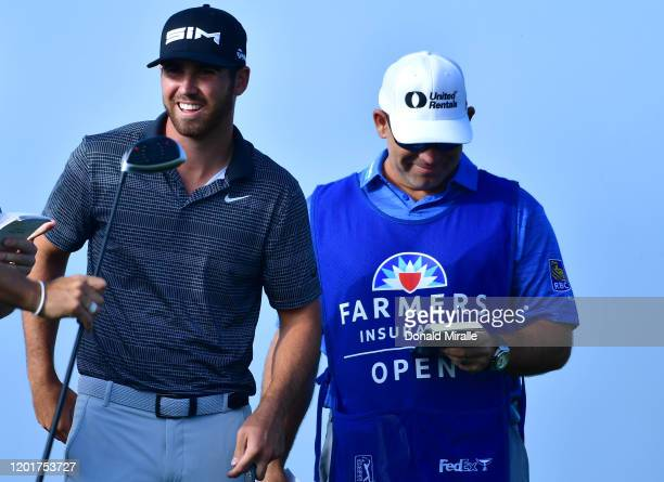 Matthew Wolff prepares to tee off on the 18th hole during the second round of the Farmers Insurance Open at Torrey Pines North on January 24 2020 in...