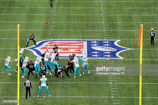 Matthew Wright of Jacksonville Jaguars kicks a field goal during the NFL London 2021 match between Miami Dolphins and Jacksonville Jaguars at...