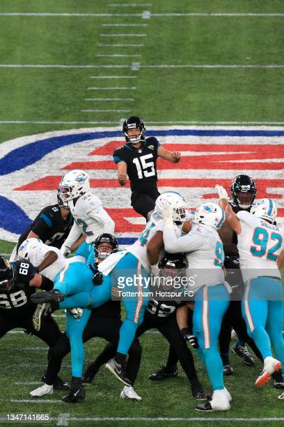 Matthew Wright of Jacksonville Jaguars kicks a field goal to win during the NFL London 2021 match between Miami Dolphins and Jacksonville Jaguars at...